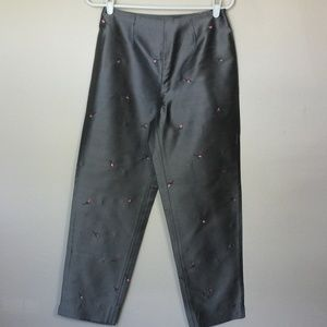 INC Silver Dupioni Crop Pants Embroidered Rosebuds